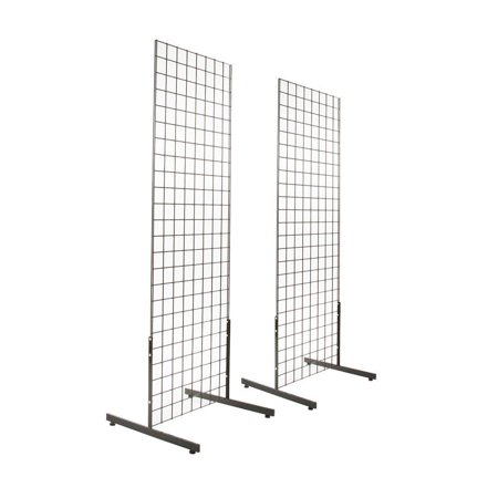 - 2 x 6  Black Gridwall Panel Tower with T-Base Floorstanding Display Kit (2Pk)