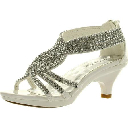 Rhinestone Platform Pump Heels - Fabulous Angel-37K Little Girls Bling Rhinestone Platform Dress Heels Sandals