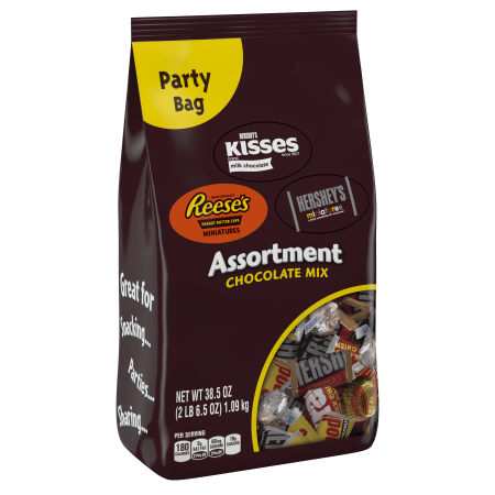 Hershey, Chocolate Candy Assortment Party Bag, 38.5 Oz - Bad Candy For Halloween