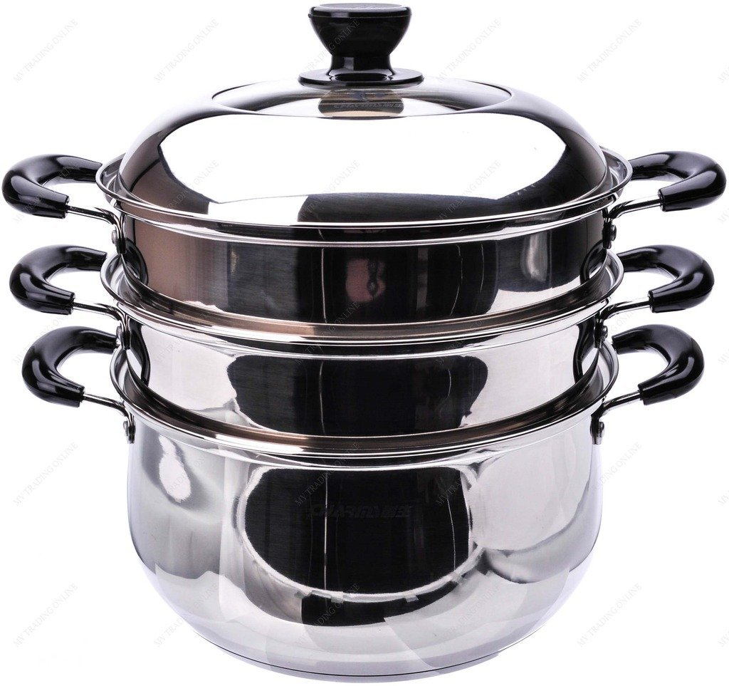 M.V. Trading S7326A Stainless Steel 3-Tier Steamer, Clad Base and Induction Ready With Lid High Dome Cover, 26cm, (10?-Inches)