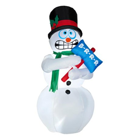 Gemmy industries 86235 animated air blown shivering for Animated snowman decoration
