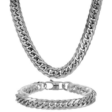 Miami Cuban White Gold Finish Chain Stainless Steel Mens 11 MM Designer Necklace - -