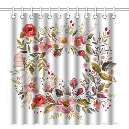 Pop vintage abstract hand painted colorful watercolor floral wreath pop vintage abstract hand painted colorful watercolor floral wreath red and pink flowers art waterproof polyester mightylinksfo