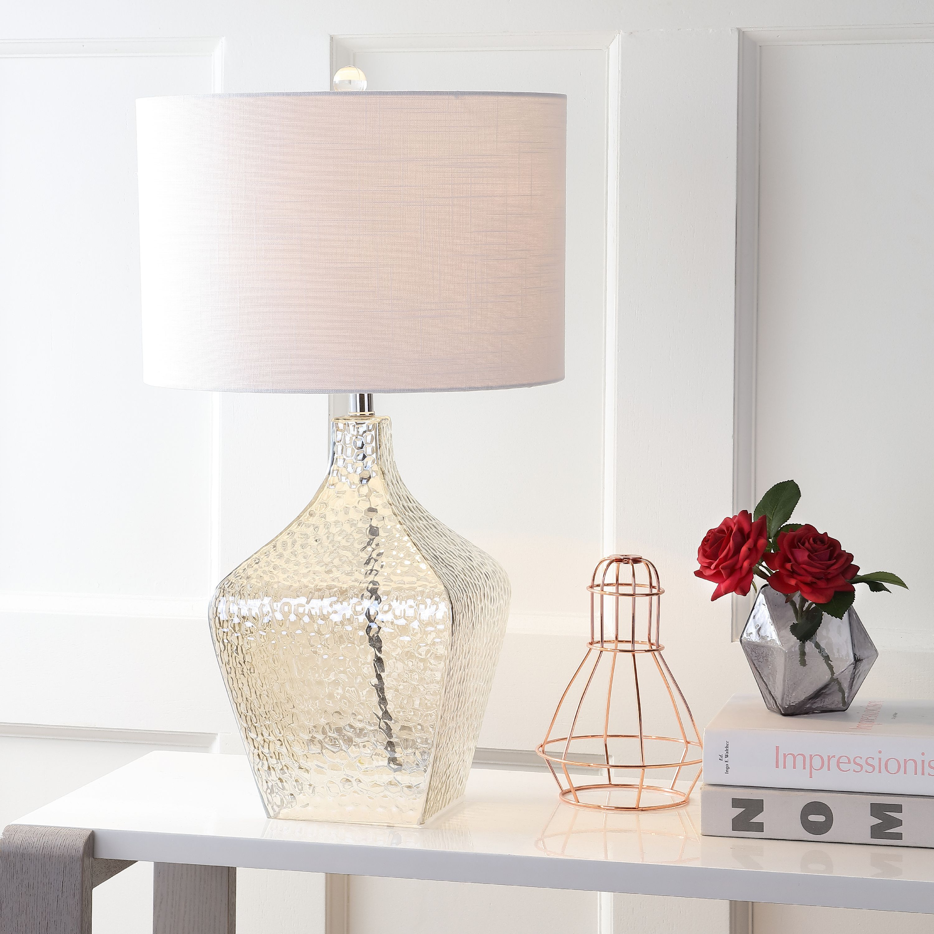 "Jane 26"" Glass LED Table Lamp, Clear by JONATHAN Y"