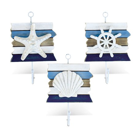 Nautical Decor Wall Hook Set - Starfish, Shell, and Steering Wheel - Starfish Shell