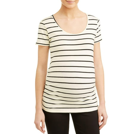 Maternity Stripe Sccop Neck Side Ruched Knit Top - Available in Plus Sizes