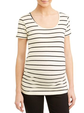 edefb846a588b Product Image Maternity Stripe Sccop Neck Side Ruched Knit Top - Available  in Plus Sizes