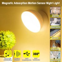 Magnetic Adsorption 360°Rotation Motion Sensor Lamp Night Light Human Body Induction Lighting USB for Household Wardrobe Locker Cupboard - White