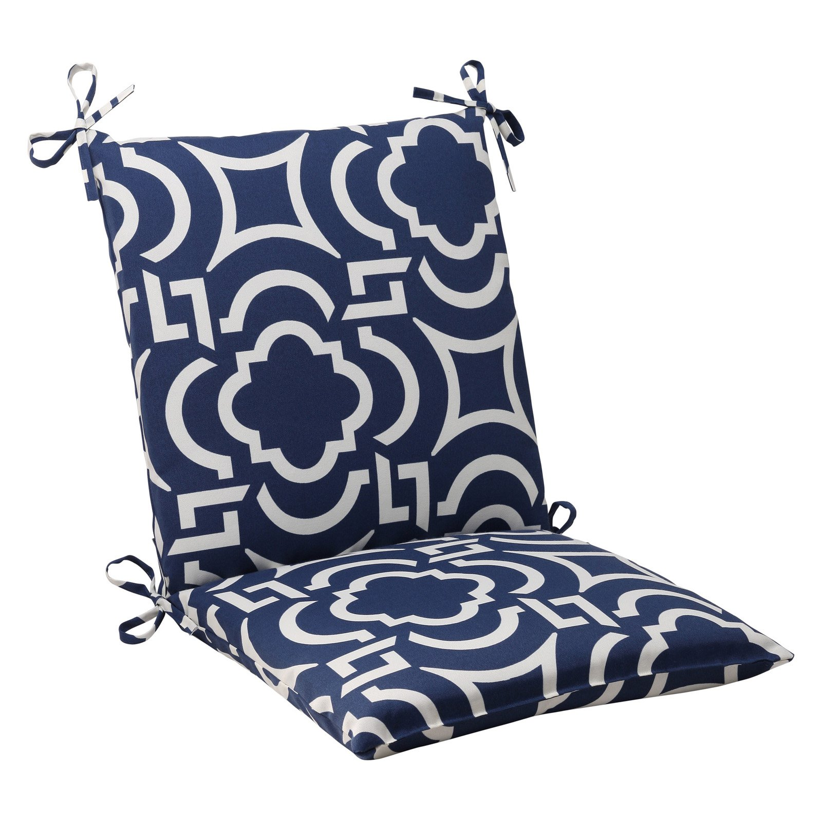 Pillow Perfect Outdoor/ Indoor Carmody Navy Squared Corners Chair Cushion