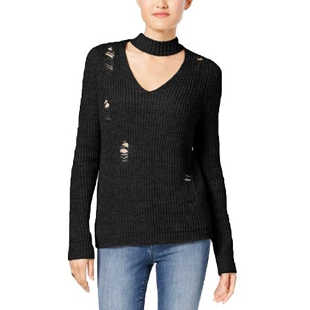 Crave Fame by Almost Famous Juniors Ripped Choker Sweater (Black, Small)