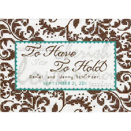 "Dimensions Treasured Words Wedding Record Counted Cross Stitch Kit, 7"" x 5"", 14-Count"
