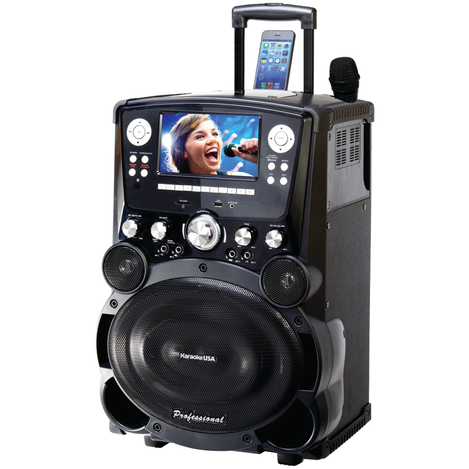 "Karaoke USA GP978 Complete Professional Bluetooth Karaoke System- 100 Watt Power Output includes 2 Microphones, Remote Control, 7"" Color Screen, Record Function with wheels. Plays DVD/CDG/MP3G/USB/SD"