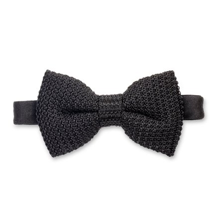 Puentes Denver Mens Wedding Collection Pre-Tied Bow Tie 100% Silk, Black Dry Clean Silk Tie