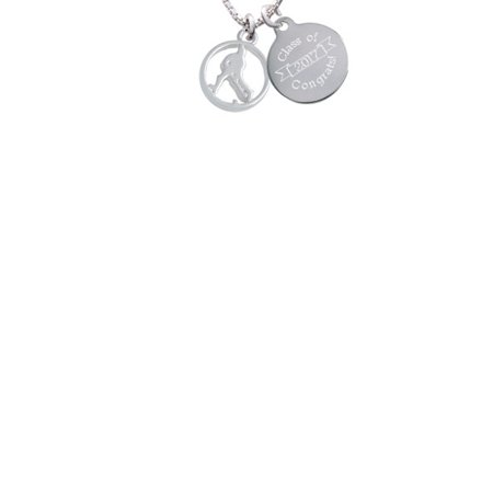 Hockey Disc (Field Hockey Player Silhouette in 1/2'' Disc Class Of 2017 Congrats Engraved Necklace)