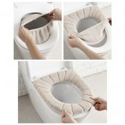 Isabelvictoria Soft Velvet Washable Bathroom Toilet Seat Filling Soft Warmer Mat Cover Pad Cushion Toilet Cleaning Pad