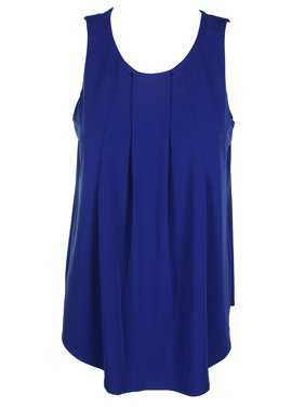 03c5f93a6663f Product Image Charter Club Royal Blue Sleeveless Pleated Crew-Neck Curved  Hem Top M