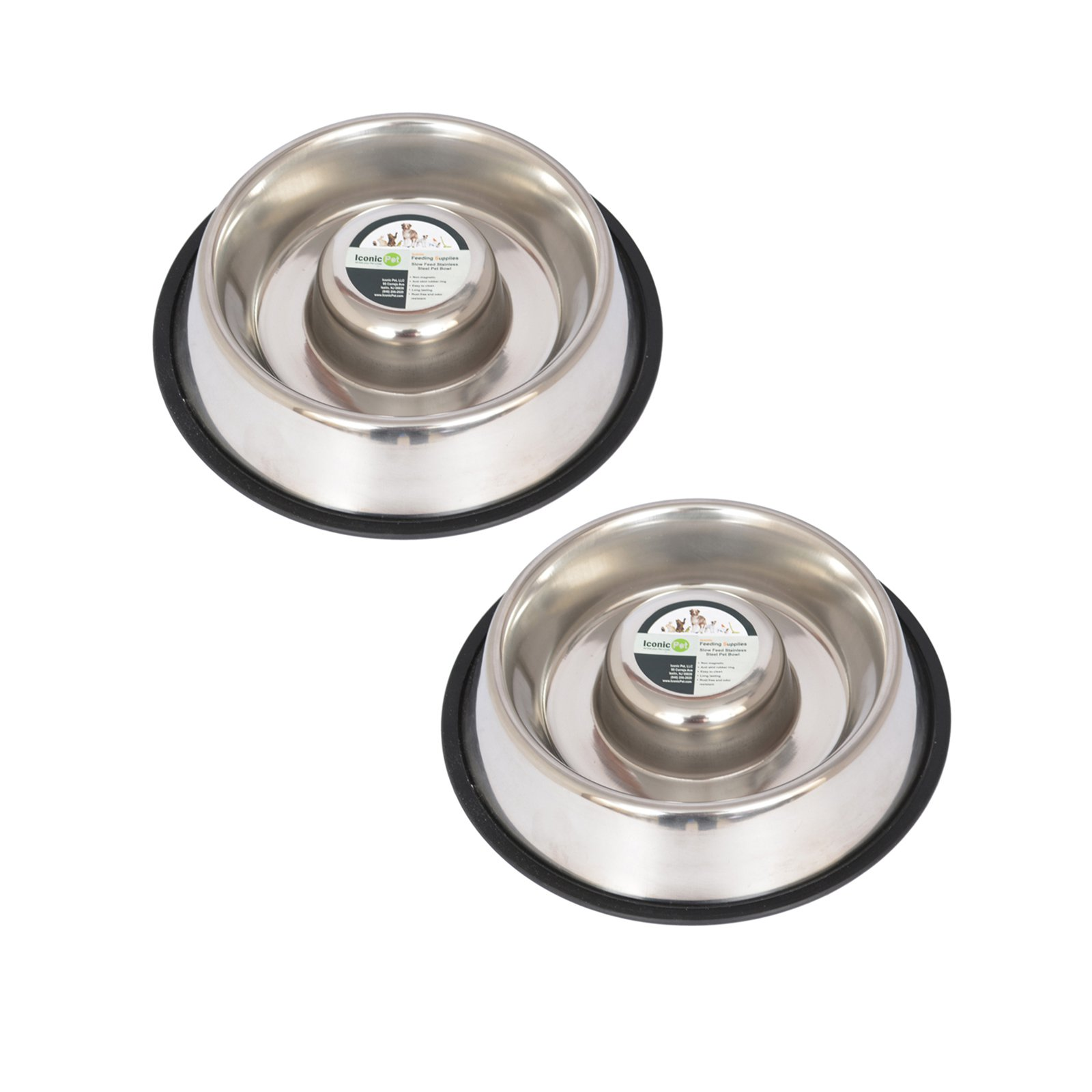 2-Pack Slow Feed Stainless Steel Pet Bowl For Dog or Cat, Large, 48 Oz