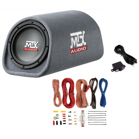 "MTX Road Thunder RT8PT 8"" 240 Watt Powered Vented/Ported Bass Tube+Amp Wire"