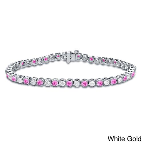 Auriya 14k Gold 2 1 2ct Pink Sapphire and 2 1 2ct TW Diamond Tennis Bracelet (H-I, SI1-SI2) by Overstock