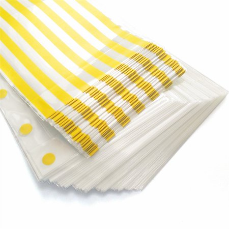 Gold Polka Dot Cookie Bags and Striped Plastic Candy Bags 100 Pcs Cello/Cellophane Bags for Wedding Baby Shower Kid's Birthday Party 6 x 10 in - Polka Dot Party Bags