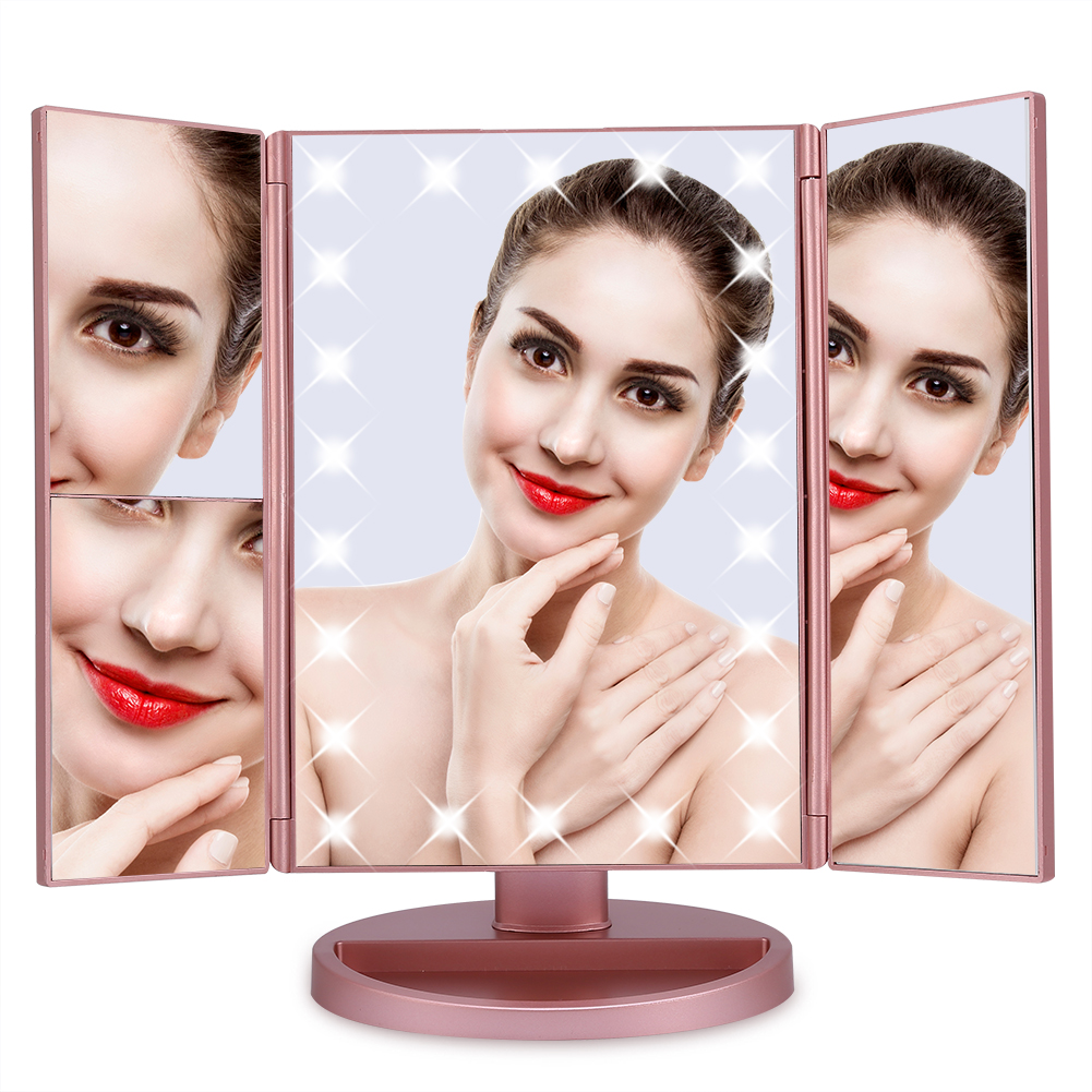Tri-fold Vanity Mirror,Lighted Makeup Mirror with 22 Led Lights,Touch Screen