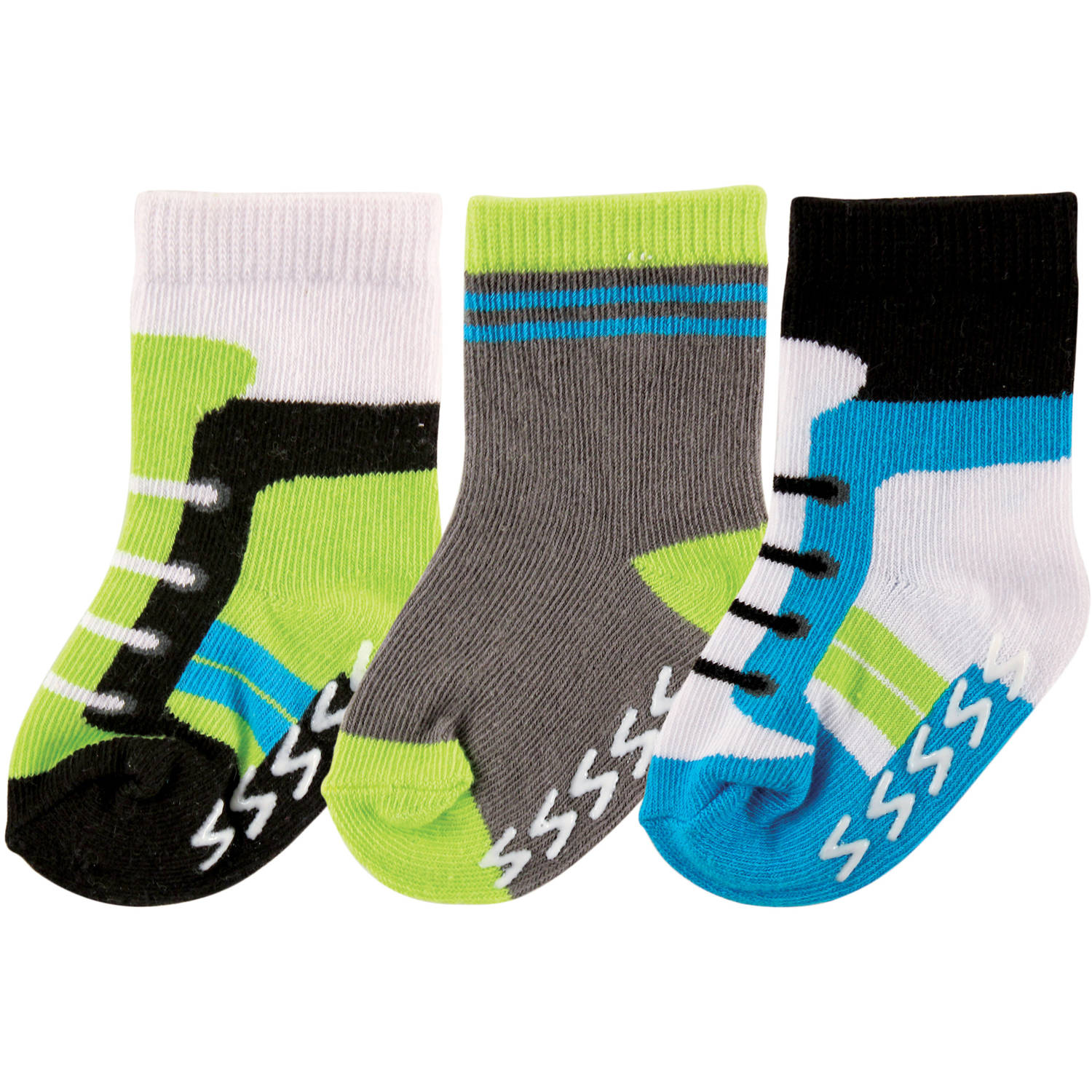 Luvable Friends Newborn Baby Boys Non Skid Shoes Socks 3-Pack