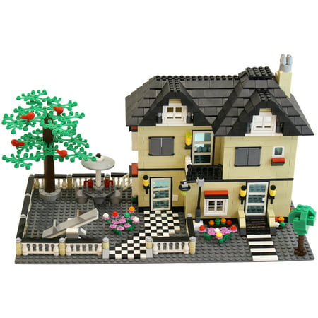 Dimple 816 Piece Toy Family Cottage Themed Interconnecting Building Block Set with Yard, Garden, Figurines and Other Fun Assorted Pieces by