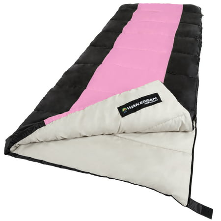 Sleeping Bags Pink (Sleeping Bag, 2-Season With Carrying Bag For Adults and Kids, Otter Tail Sleeping Bag By Wakeman Outdoors (Pink) (For Camping And)