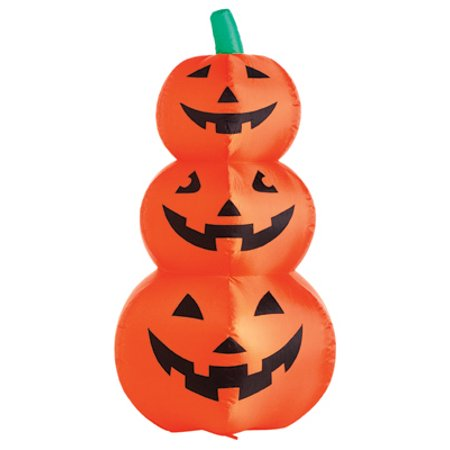 CITI TALENT LTD Halloween Inflatable Lawn Decoration, Stacked Pumpkins, Lighted, 48-In. (Wooden Lawn Decorations Halloween)