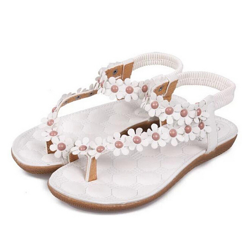 Sandals for Women, Coxeer Bohemian Bead Flower Beach Flat Sandals Summer Shoes for Ladies Girls(White)