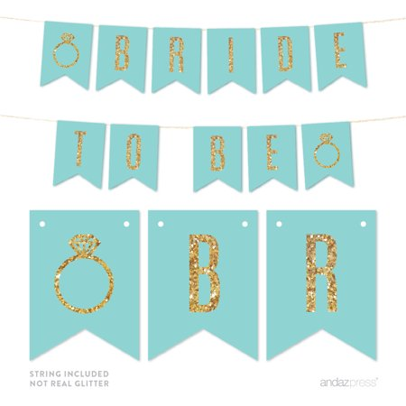 Bride To Be Gold Glitter Wedding Pennant Party Banner (Bride To Be Banner)