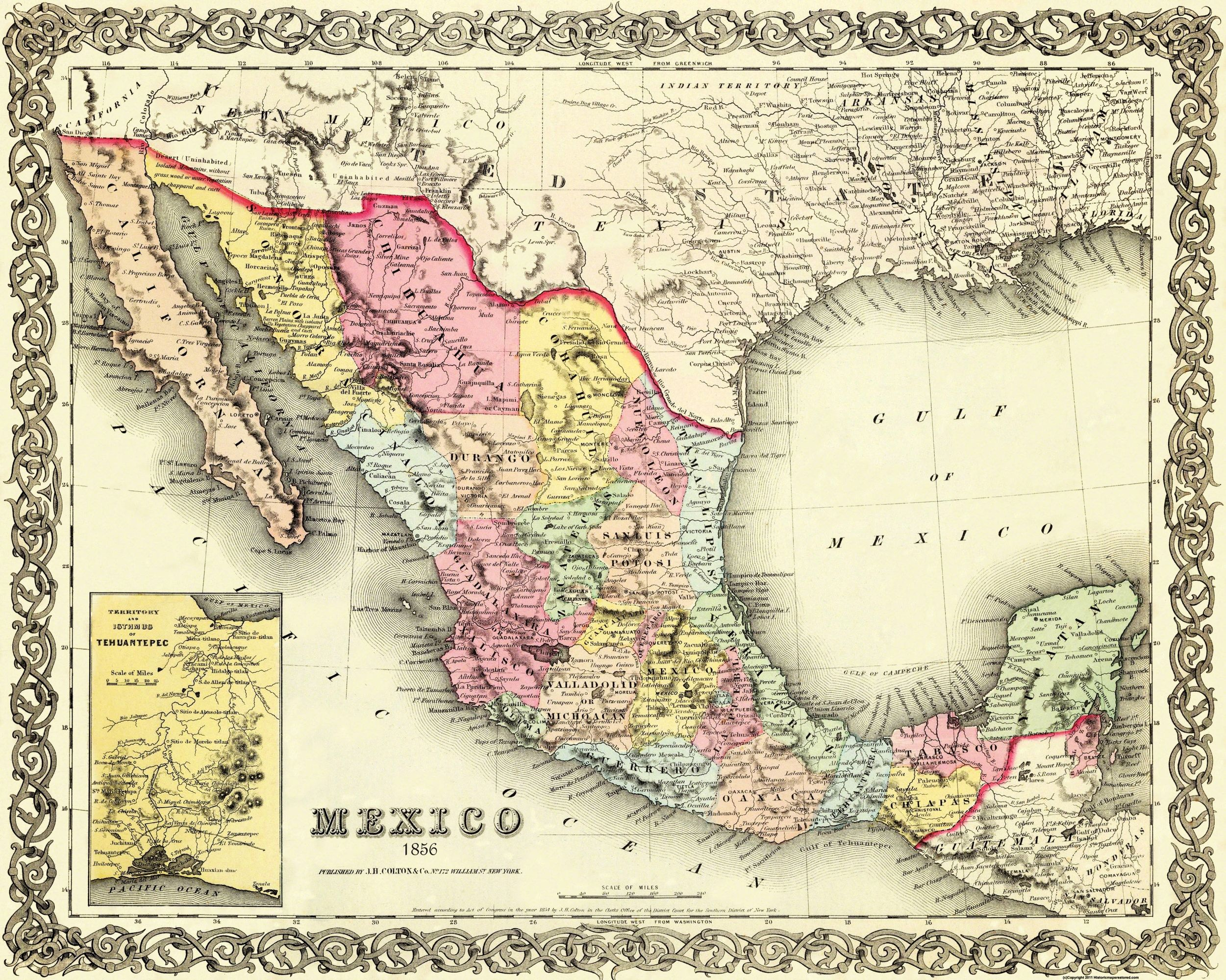Old Mexico Map   Colton 1856   28.75 x 23   Walmart.com
