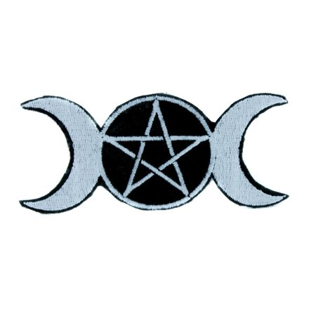 Witchcraft Clothes (Triple Goddess Moon Wicca Pentagram Patch Iron on Applique Clothing)