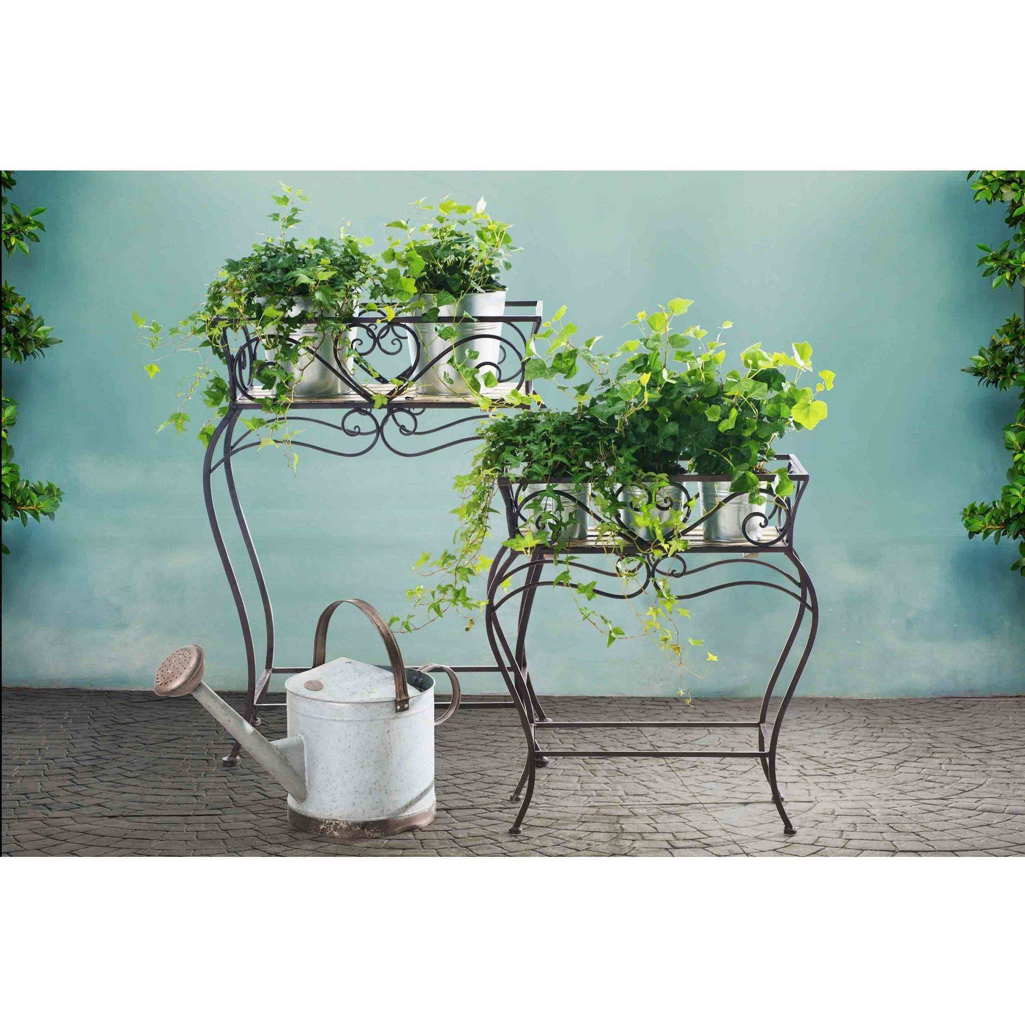 "Sunjoy 110302013 Wrought Iron and Wood Plant Stands, Set of 2, 31"" and 22"""