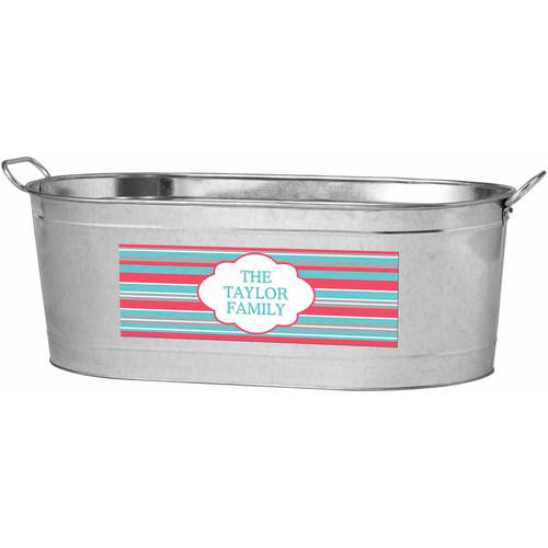 Personalized Summer Stripes Beverage Tub, Available in 2 Colors