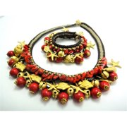 WNK International SREG006 Brasstone Red Coral and Bead Necklace and Bracelet Set