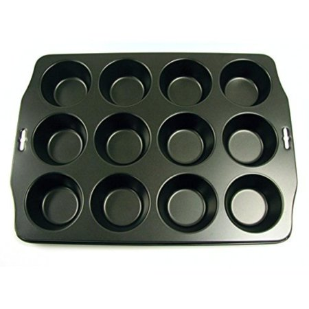 12 Cup Nonstick Muffin Pan, Muffin cup size, top 3.25 inches/8cm, bottom 2.25 inches/5.5cm and depth 1.25 inches 3cm By Norpro Norpro Non Stick Muffin Pan