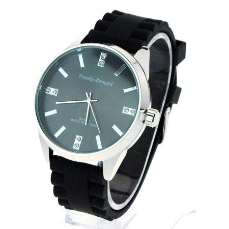 SA106 Womens Minimal Classic Silicone Buckle Band Round Rhinestone Analog Wrist Watch Black Silver