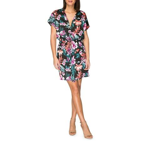 Tropical Print Women's Large Wrap Shift Dress L (Short Horror Story Ideas With A Twist)
