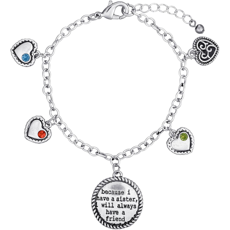 Personalized Sandra Magsamen's Sisters Birthstone Silver-Tone Bracelet