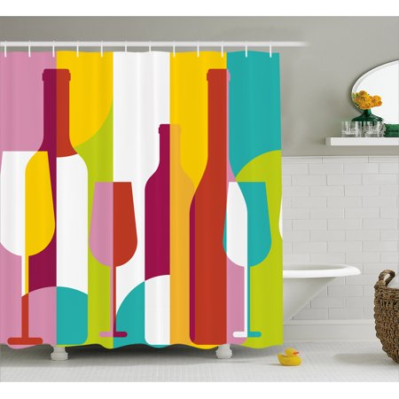 Wine Shower Curtain Colorful Abstract Bottle Glass Silhouettes Modern Party Drinks Geometric Design Fabric Bathroom Set With Hooks Multicolor