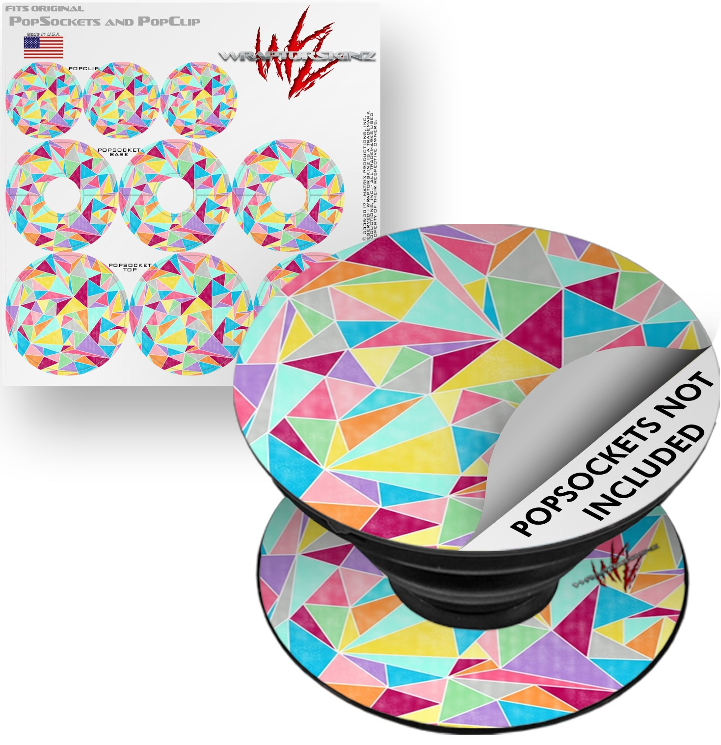 Decal Style Vinyl Skin Wrap 3 Pack for PopSockets Brushed Geometric (POPSOCKET NOT INCLUDED) by WraptorSkinz