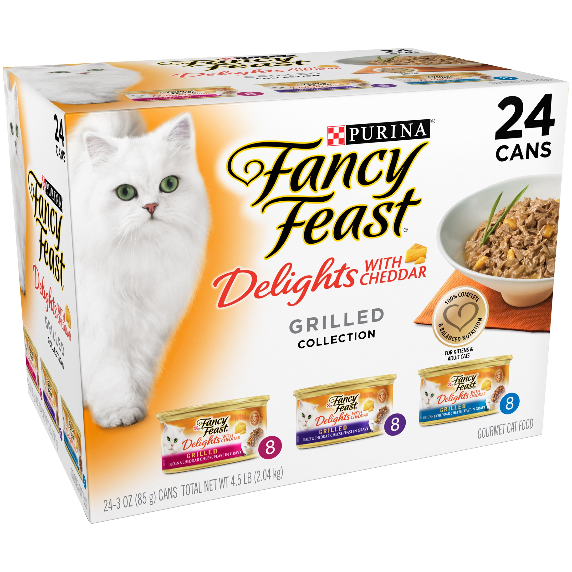 Purina Fancy Feast Delights with Cheddar Grilled Collection Wet Cat Food (24) 3-oz. Cans