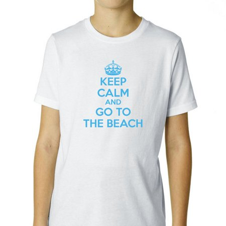 Keep Calm & Go to the Beech - Cool Ocean Blue Lettering Boy's Cotton Youth T-Shirt