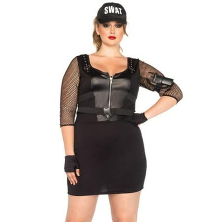 Women Swat Costume (Leg Avenue Women's Plus-Size 5 Piece Swat Officer Costume, Black,)