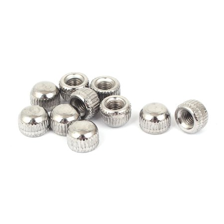 M5 Female Thread Cap Acorn Nut Lamps Lighting Fittings Silver Tone 10pcs