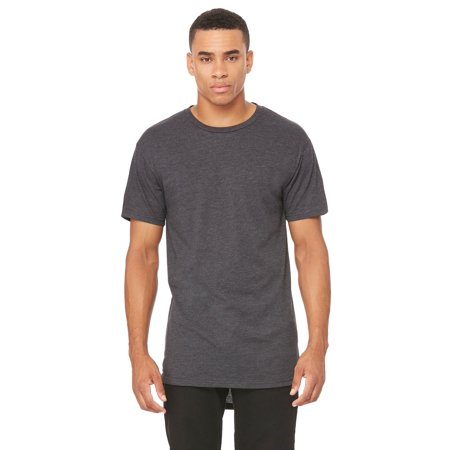 Branded Bella + Canvas Mens Long Body Urban Tee - DARK GRY HEATHER - S (Instant Saving 5% & more) Heathered Olive Green