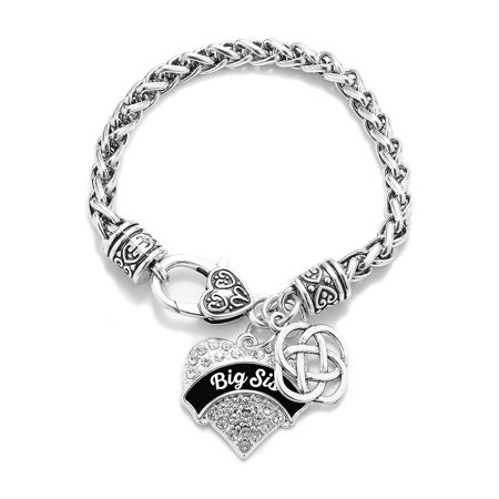 Black and White Big Sis Celtic Knot Pave Heart Charm Bracelet (Sister Braclets)