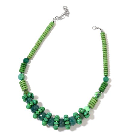 Agate Plastic Necklace - Enhanced Green Agate Green Howlite Silvertone Choker Necklace for Women 18
