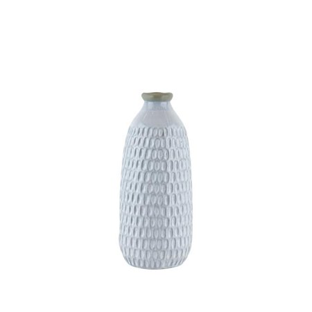 Benzara BM188090 Ceramic Vase with Engraved Scalloped Pattern - Gray - -